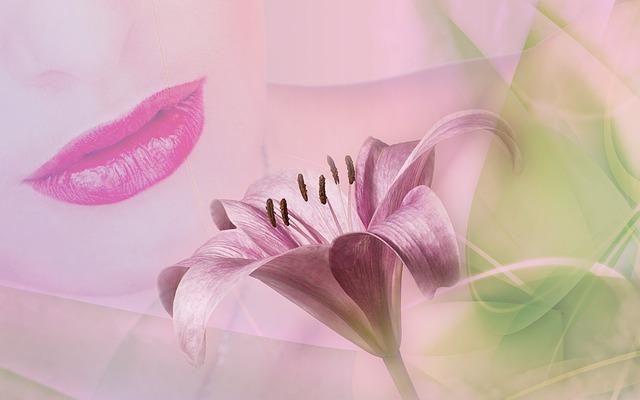 女性とユリの花